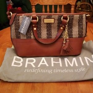 Brahmin leather and straw satchel